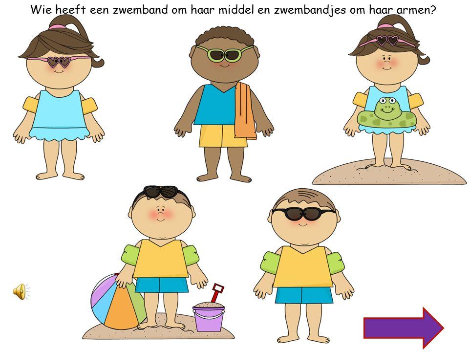Wie heeft groene zwembandjes om zijn armen en een zonnebril op