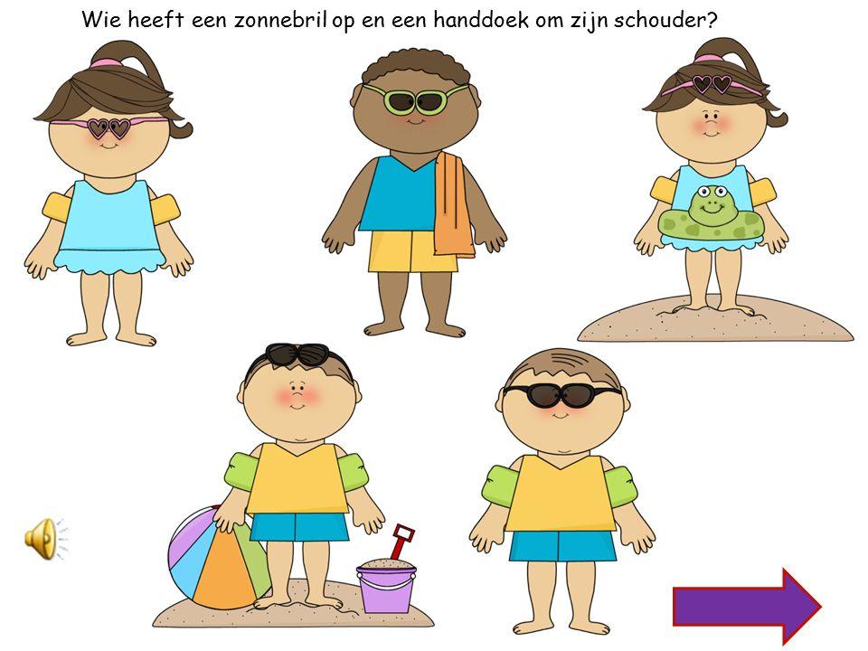 Wie heeft zwembandjes om haar armen en een zonnebril op