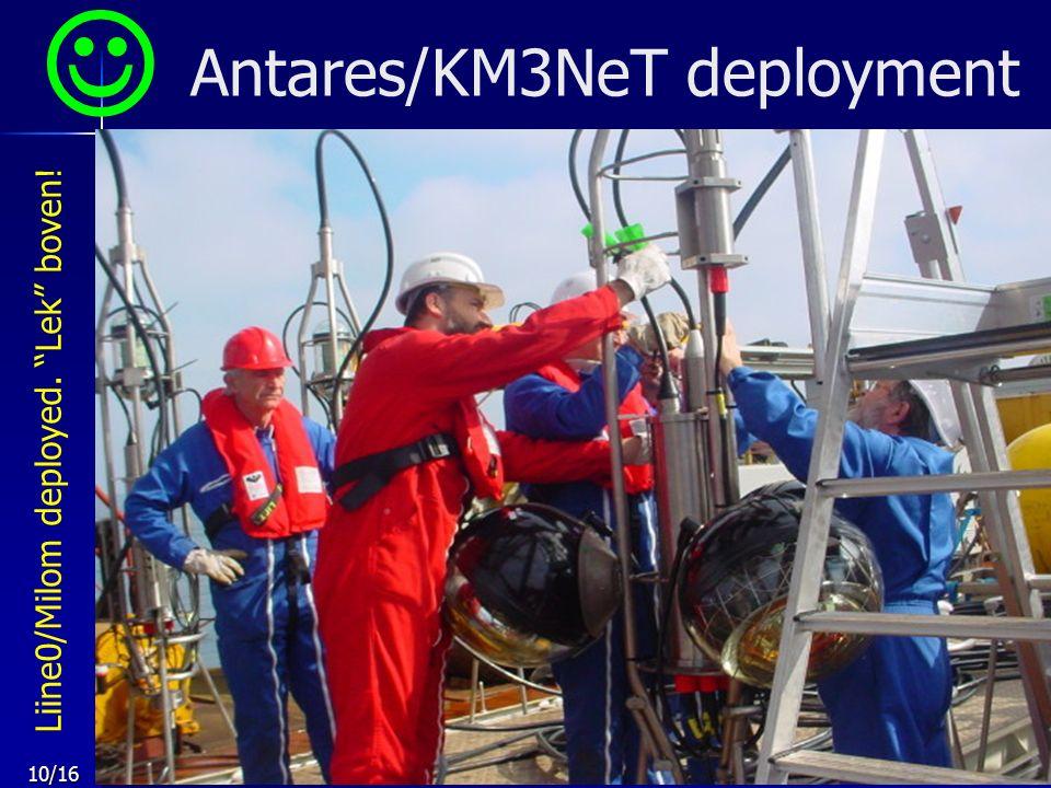 10/16 Antares/KM3NeT deployment Liine0/Milom deployed. Lek boven!