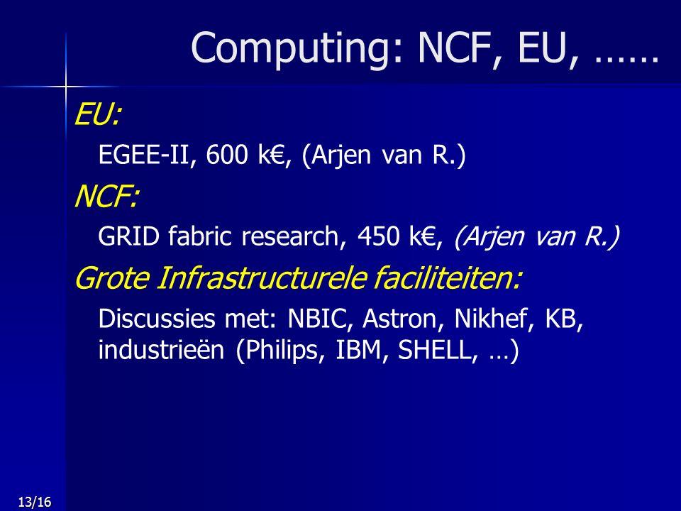 13/16 Computing: NCF, EU, …… EU: EGEE-II, 600 k€, (Arjen van R.) NCF: GRID fabric research, 450 k€, (Arjen van R.) Grote Infrastructurele faciliteiten: Discussies met: NBIC, Astron, Nikhef, KB, industrieën (Philips, IBM, SHELL, …)