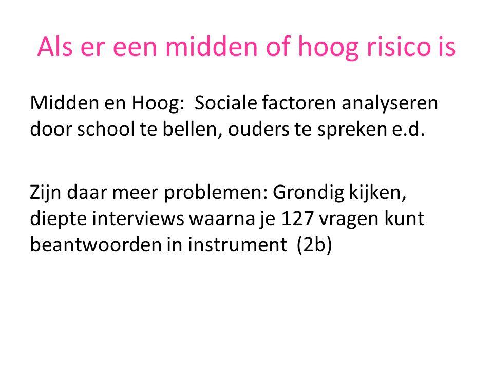 Als er een midden of hoog risico is Midden en Hoog: Sociale factoren analyseren door school te bellen, ouders te spreken e.d.