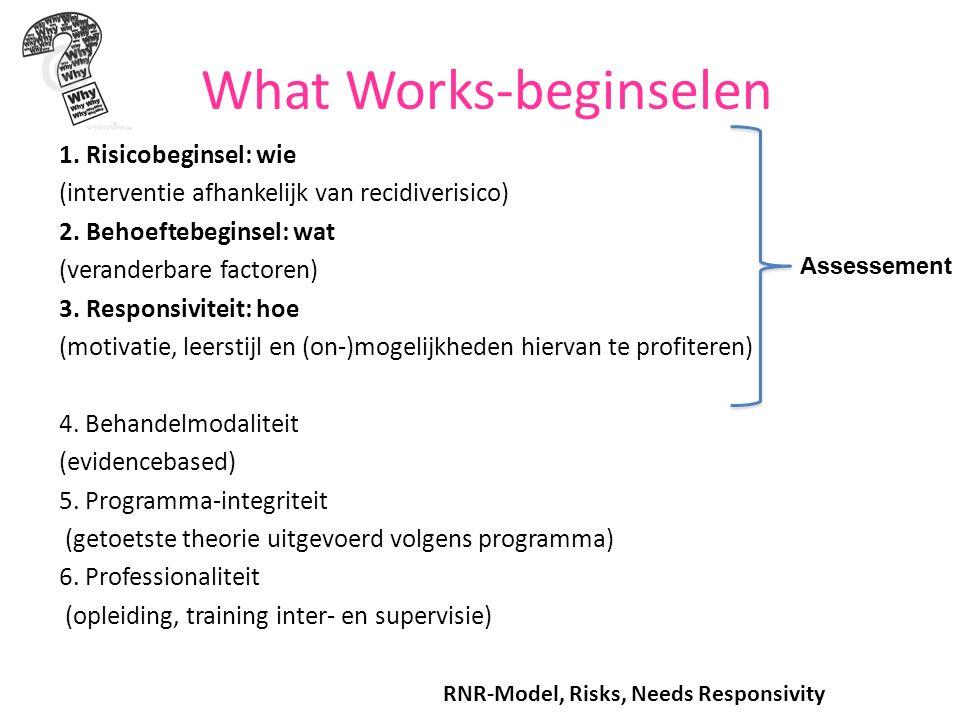 What Works-beginselen 1. Risicobeginsel: wie (interventie afhankelijk van recidiverisico) 2.