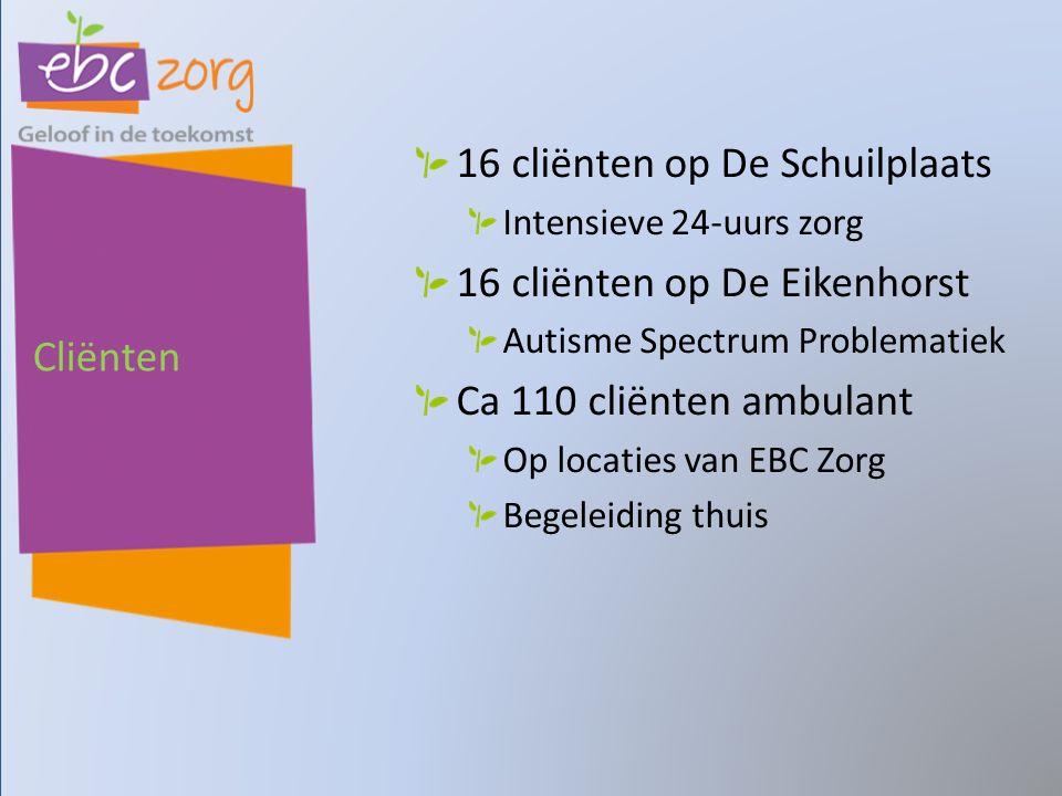 Cliënten 16 cliënten op De Schuilplaats Intensieve 24-uurs zorg 16 cliënten op De Eikenhorst Autisme Spectrum Problematiek Ca 110 cliënten ambulant Op locaties van EBC Zorg Begeleiding thuis