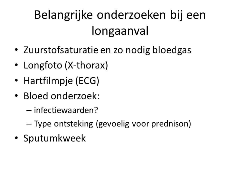 Belangrijke onderzoeken bij een longaanval Zuurstofsaturatie en zo nodig bloedgas Longfoto (X-thorax) Hartfilmpje (ECG) Bloed onderzoek: – infectiewaa