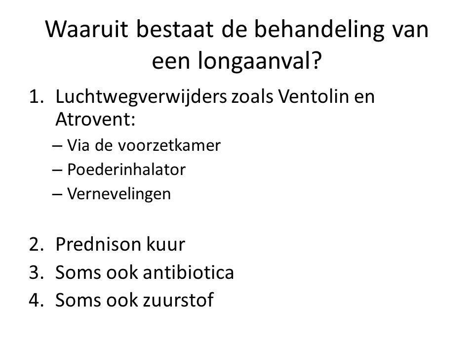 Waaruit bestaat de behandeling van een longaanval? 1.Luchtwegverwijders zoals Ventolin en Atrovent: – Via de voorzetkamer – Poederinhalator – Vernevel