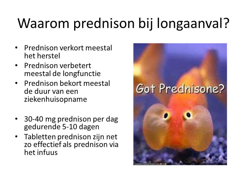 Waarom prednison bij longaanval? Prednison verkort meestal het herstel Prednison verbetert meestal de longfunctie Prednison bekort meestal de duur van