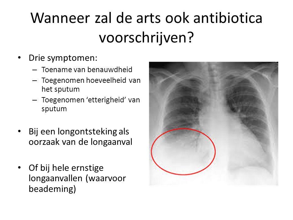 Wanneer zal de arts ook antibiotica voorschrijven? Drie symptomen: – Toename van benauwdheid – Toegenomen hoeveelheid van het sputum – Toegenomen 'ett