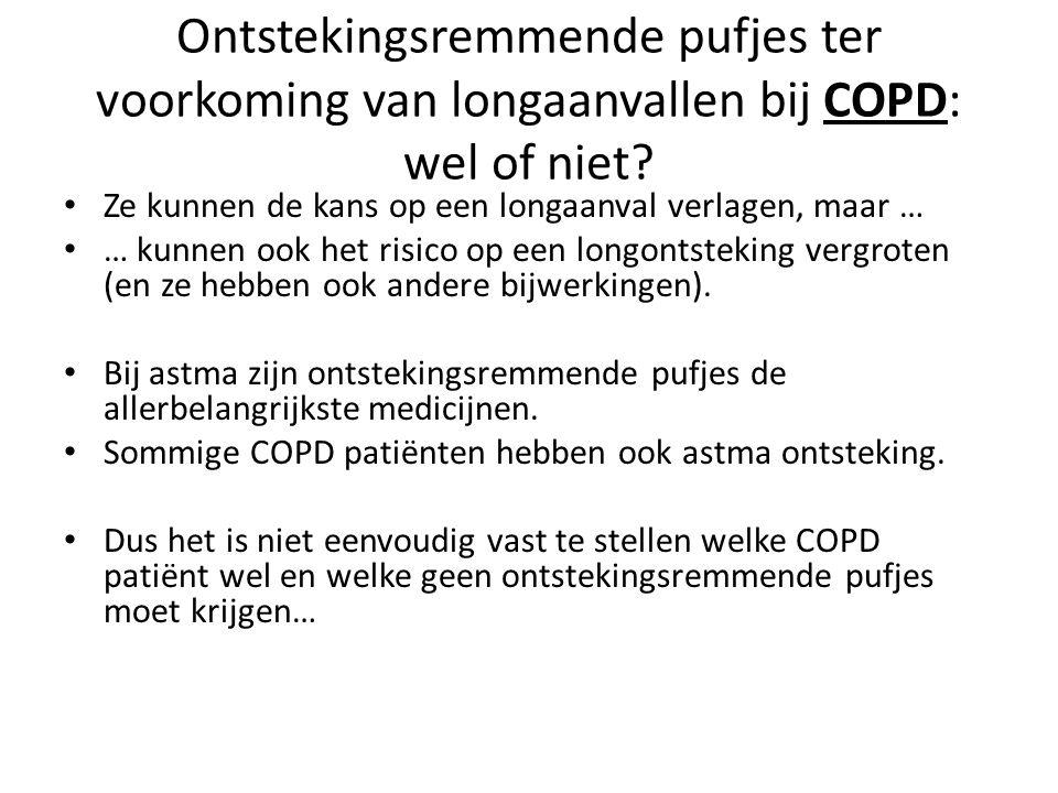 Ontstekingsremmende pufjes ter voorkoming van longaanvallen bij COPD: wel of niet? Ze kunnen de kans op een longaanval verlagen, maar … … kunnen ook h