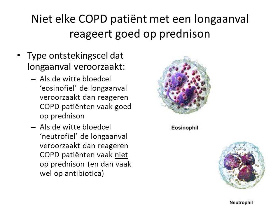 Niet elke COPD patiënt met een longaanval reageert goed op prednison Type ontstekingscel dat longaanval veroorzaakt: – Als de witte bloedcel 'eosinofi