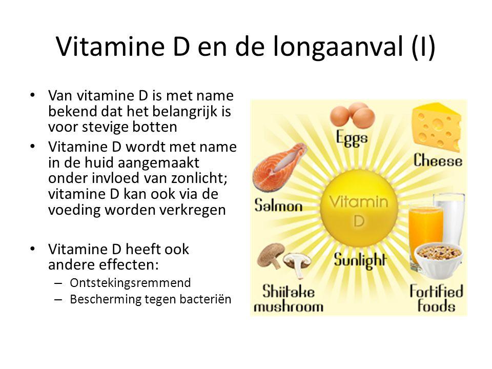 Vitamine D en de longaanval (I) Van vitamine D is met name bekend dat het belangrijk is voor stevige botten Vitamine D wordt met name in de huid aange
