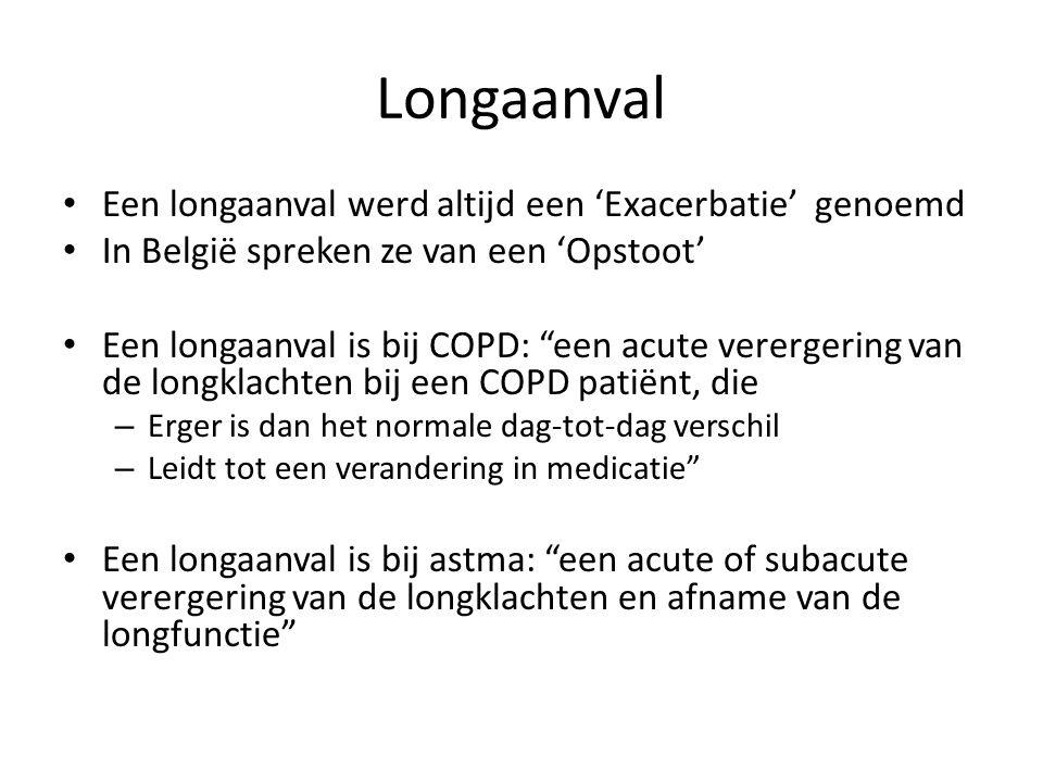 """Longaanval Een longaanval werd altijd een 'Exacerbatie' genoemd In België spreken ze van een 'Opstoot' Een longaanval is bij COPD: """"een acute vererger"""
