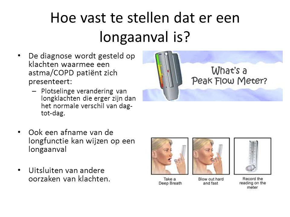 Hoe vast te stellen dat er een longaanval is? De diagnose wordt gesteld op klachten waarmee een astma/COPD patiënt zich presenteert: – Plotselinge ver