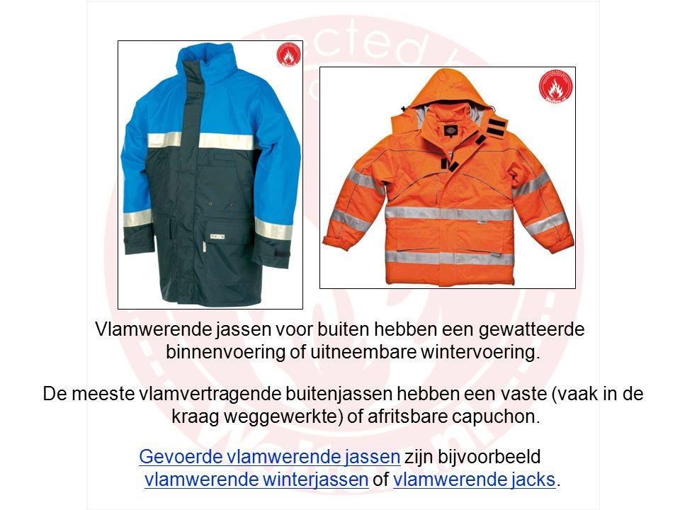 Een gedeelte van de brandwerende jassen is specifiek geschikt om binnen te dragen.