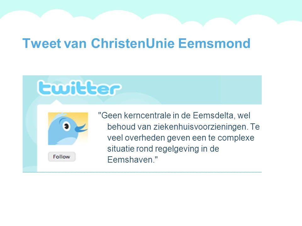 A summary of this goal will be stated here that is clarifying and inspiring 2009 Goals Tweet van ChristenUnie Groningen De samenleving is het huis dat we samen bouwen.