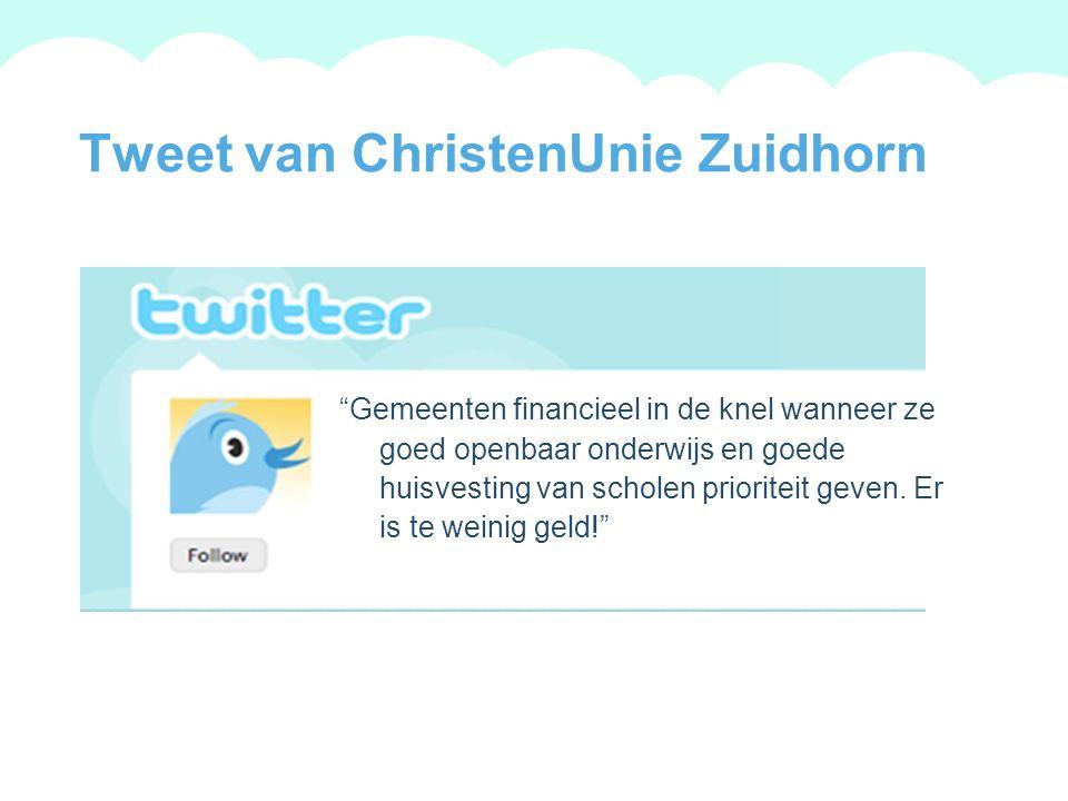 A summary of this goal will be stated here that is clarifying and inspiring 2009 Goals Tweet van ChristenUnie Zuidhorn Gemeenten financieel in de knel wanneer ze goed openbaar onderwijs en goede huisvesting van scholen prioriteit geven.