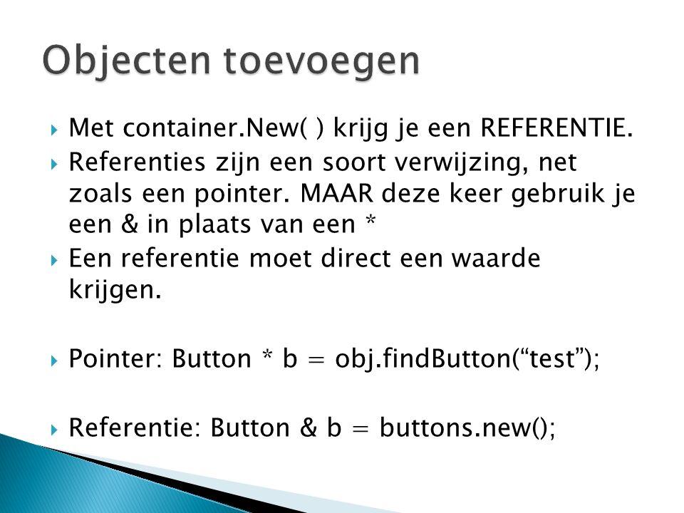  Met container.New( ) krijg je een REFERENTIE.