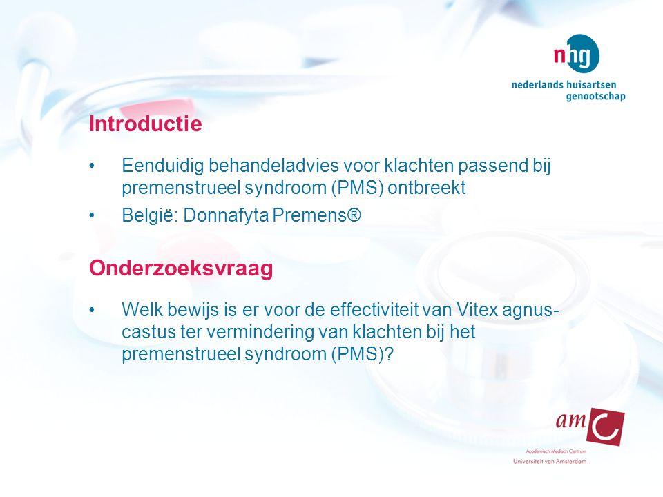 Introductie Eenduidig behandeladvies voor klachten passend bij premenstrueel syndroom (PMS) ontbreekt België: Donnafyta Premens® Onderzoeksvraag Welk