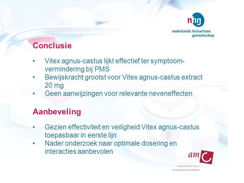 Conclusie Vitex agnus-castus lijkt effectief ter symptoom- vermindering bij PMS Bewijskracht grootst voor Vitex agnus-castus extract 20 mg Geen aanwij