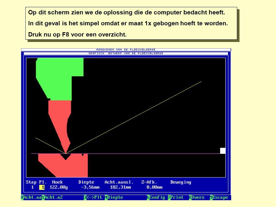 Op dit scherm zien we de oplossing die de computer bedacht heeft. In dit geval is het simpel omdat er maat 1x gebogen hoeft te worden. Druk nu op F8 v