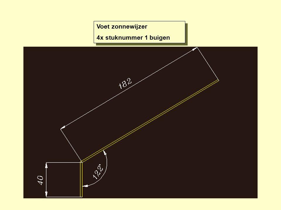 Voet zonnewijzer 4x stuknummer 1 buigen Voet zonnewijzer 4x stuknummer 1 buigen