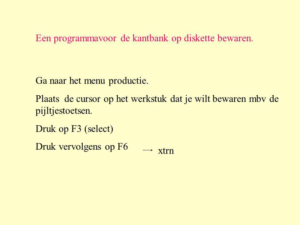 Een programmavoor de kantbank op diskette bewaren.