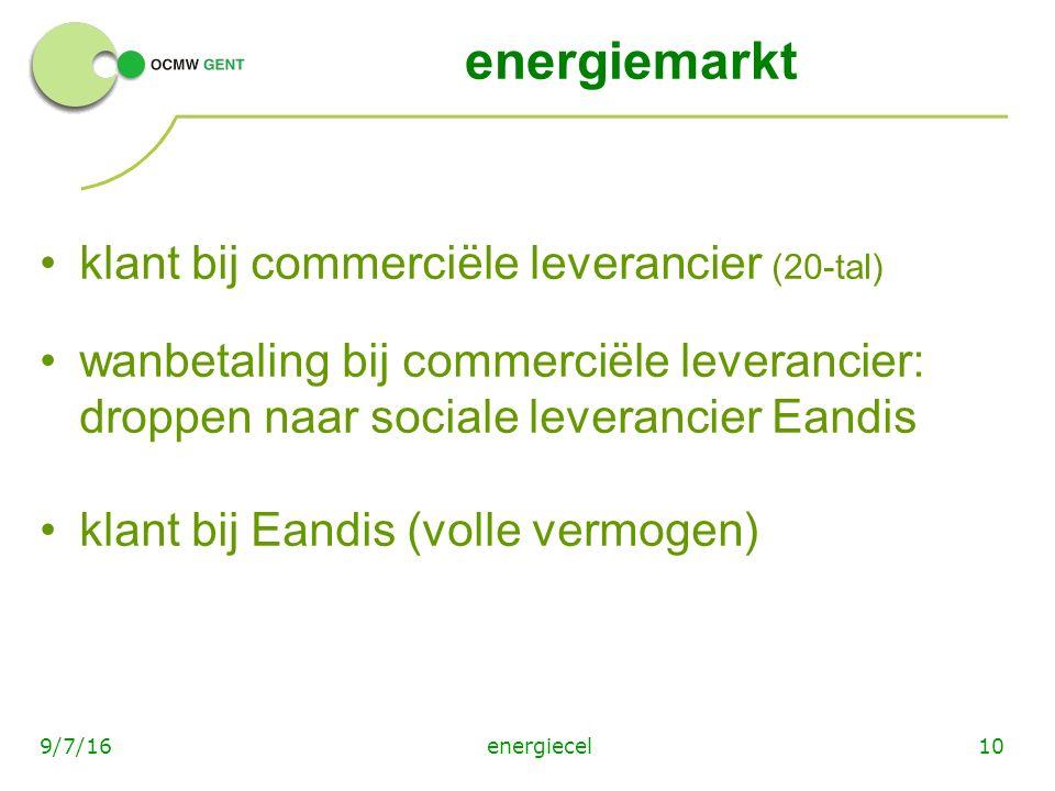 energiemarkt klant bij commerciële leverancier (20-tal) wanbetaling bij commerciële leverancier: droppen naar sociale leverancier Eandis klant bij Eandis (volle vermogen) energiecel109/7/16