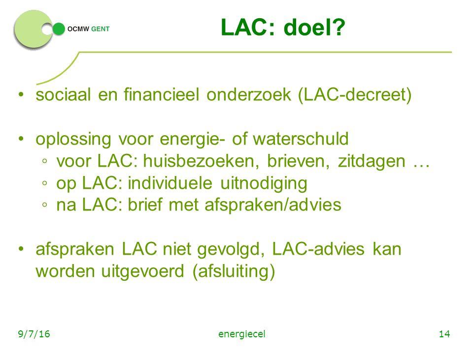 energiecel149/7/16 LAC: doel.