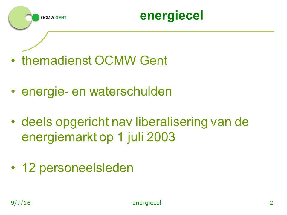 29/7/16 energiecel themadienst OCMW Gent energie- en waterschulden deels opgericht nav liberalisering van de energiemarkt op 1 juli 2003 12 personeelsleden