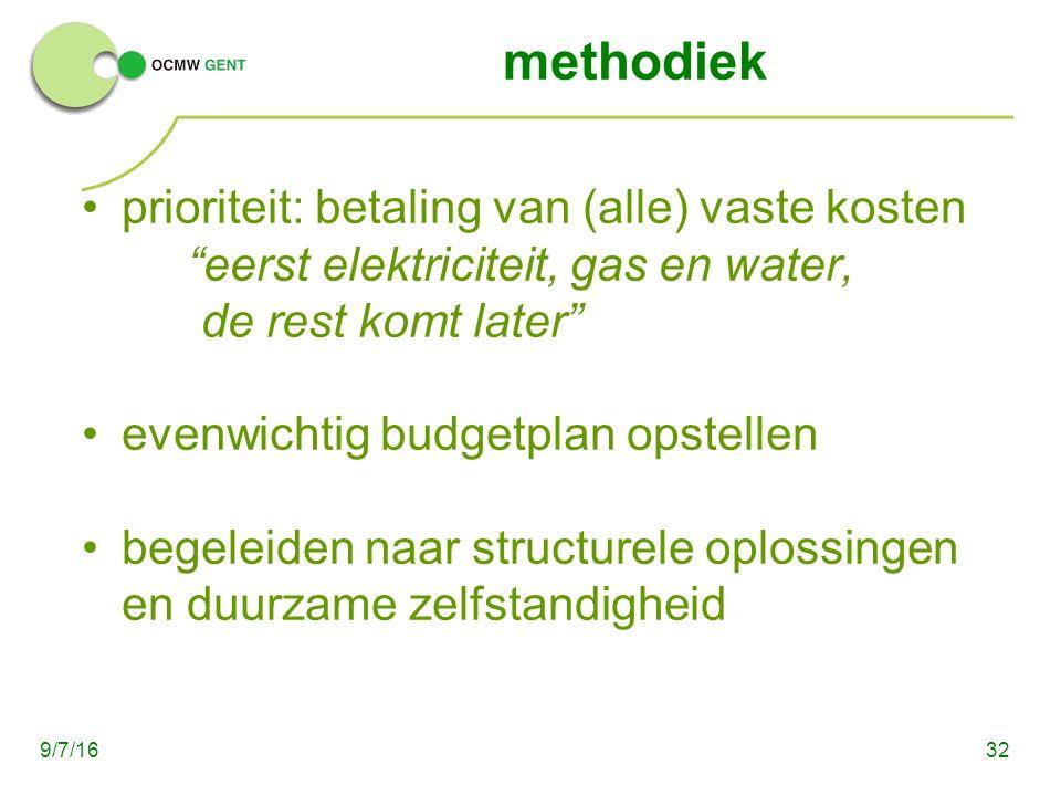 methodiek prioriteit: betaling van (alle) vaste kosten eerst elektriciteit, gas en water, de rest komt later evenwichtig budgetplan opstellen begeleiden naar structurele oplossingen en duurzame zelfstandigheid 329/7/16