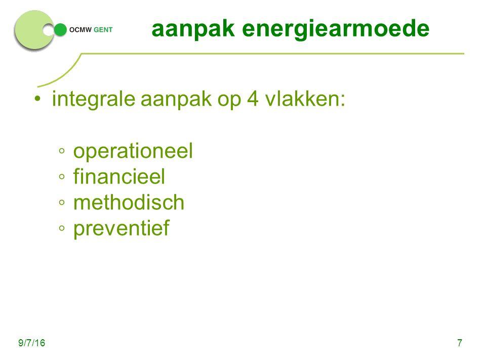 aanpak energiearmoede integrale aanpak op 4 vlakken: ◦operationeel ◦financieel ◦methodisch ◦preventief 79/7/16