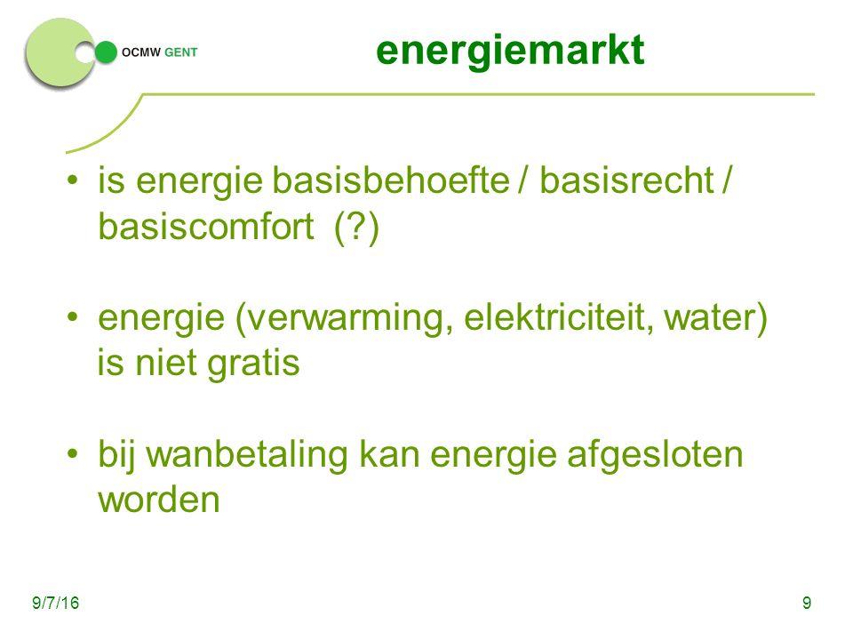 energiemarkt is energie basisbehoefte / basisrecht / basiscomfort (?) energie (verwarming, elektriciteit, water) is niet gratis bij wanbetaling kan energie afgesloten worden 99/7/16