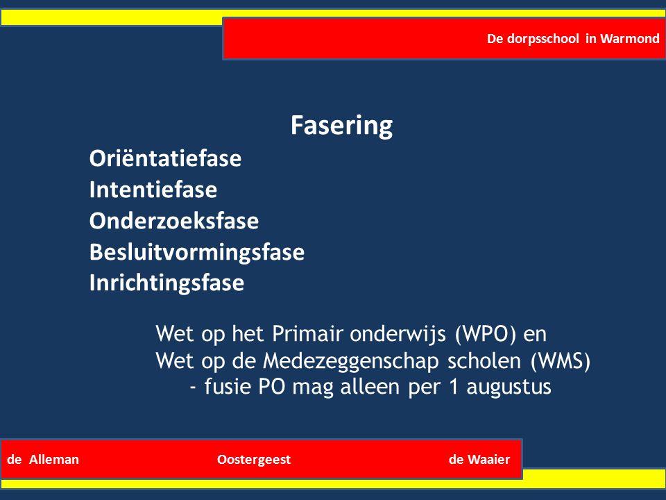 De dorpsschool in Warmond de Alleman Oostergeest de Waaier Fasering Oriëntatiefase Intentiefase Onderzoeksfase Besluitvormingsfase Inrichtingsfase Wet op het Primair onderwijs (WPO) en Wet op de Medezeggenschap scholen (WMS) - fusie PO mag alleen per 1 augustus