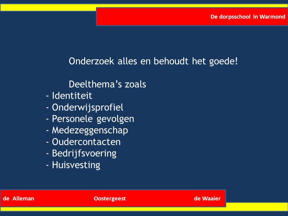 De dorpsschool in Warmond de Alleman Oostergeest de Waaier Onderzoek alles en behoudt het goede.