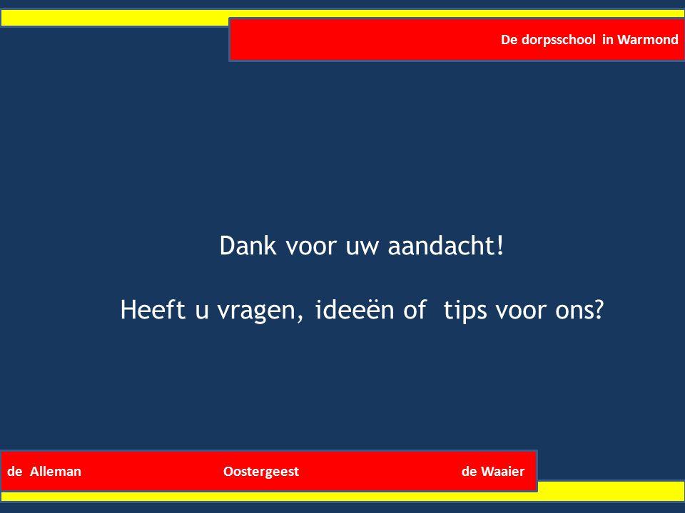 De dorpsschool in Warmond de Alleman Oostergeest de Waaier Dank voor uw aandacht.