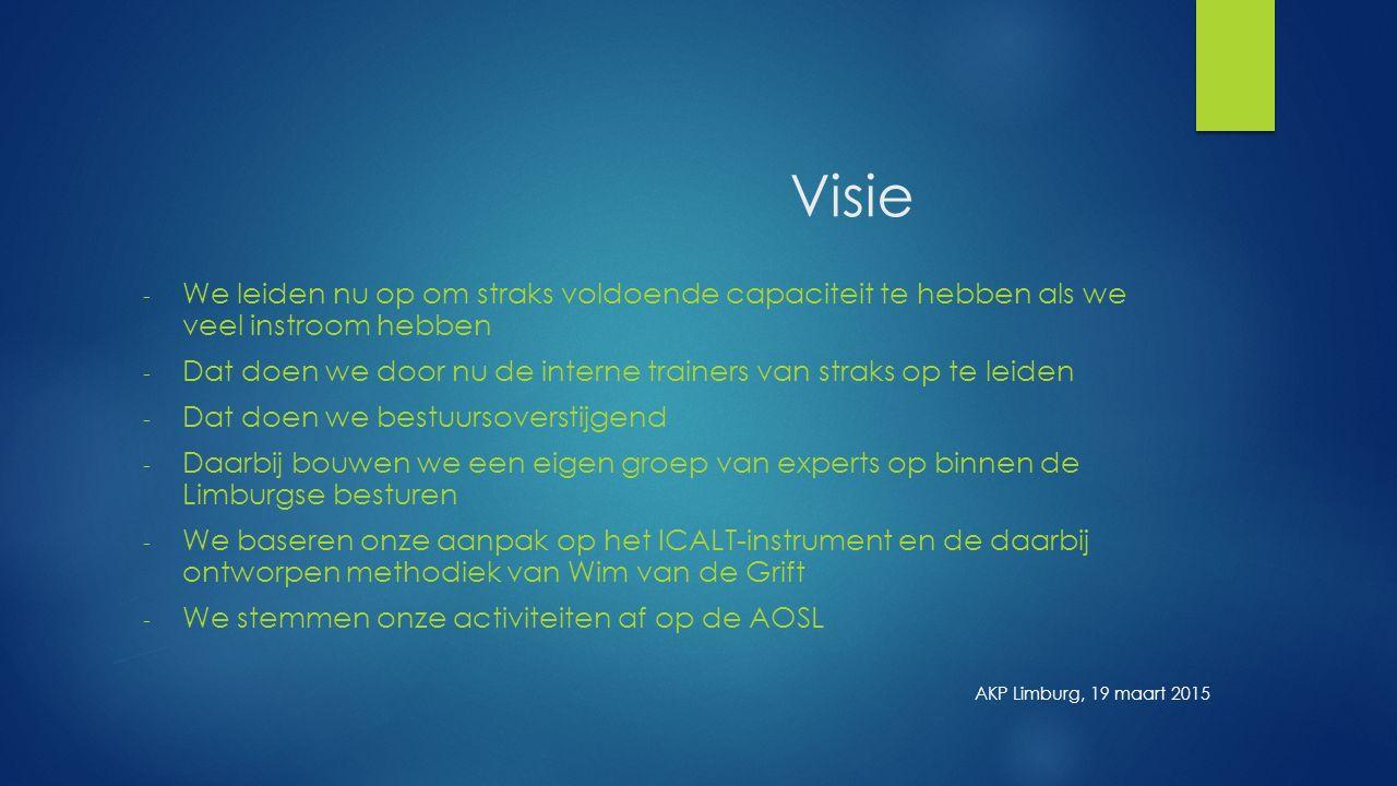 Visie - We leiden nu op om straks voldoende capaciteit te hebben als we veel instroom hebben - Dat doen we door nu de interne trainers van straks op te leiden - Dat doen we bestuursoverstijgend - Daarbij bouwen we een eigen groep van experts op binnen de Limburgse besturen - We baseren onze aanpak op het ICALT-instrument en de daarbij ontworpen methodiek van Wim van de Grift - We stemmen onze activiteiten af op de AOSL AKP Limburg, 19 maart 2015