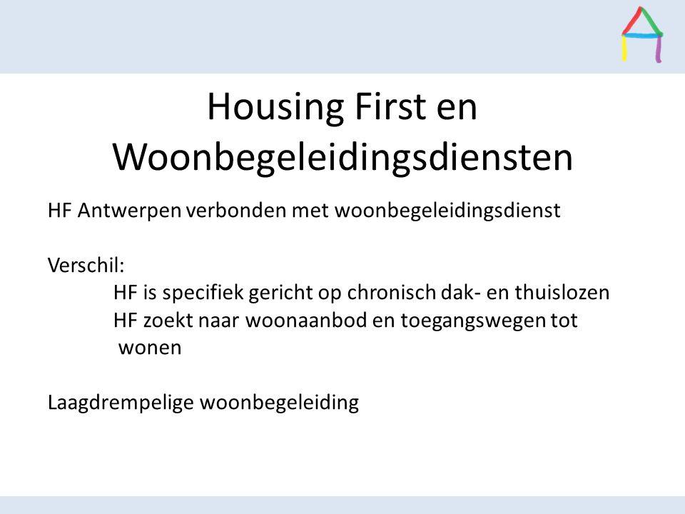 Housing First en Woonbegeleidingsdiensten HF Antwerpen verbonden met woonbegeleidingsdienst Verschil: HF is specifiek gericht op chronisch dak- en thu