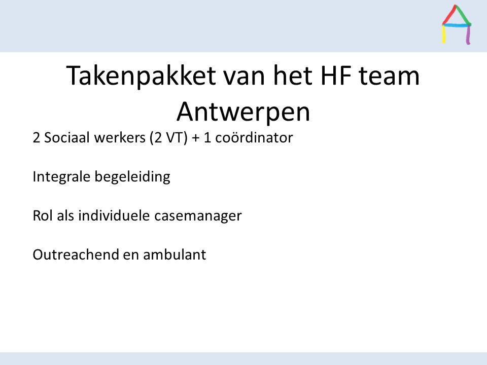 Takenpakket van het HF team Antwerpen 2 Sociaal werkers (2 VT) + 1 coördinator Integrale begeleiding  Rol als individuele casemanager  Outreachend e