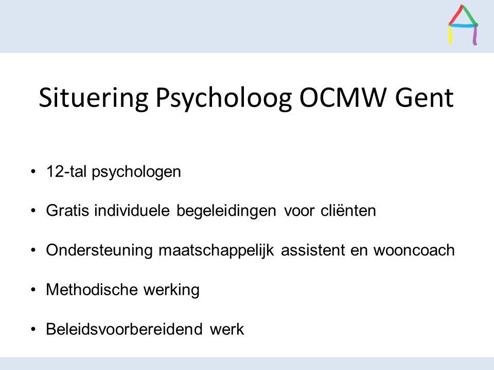 Situering Psycholoog OCMW Gent 12-tal psychologen Gratis individuele begeleidingen voor cliënten Ondersteuning maatschappelijk assistent en wooncoach