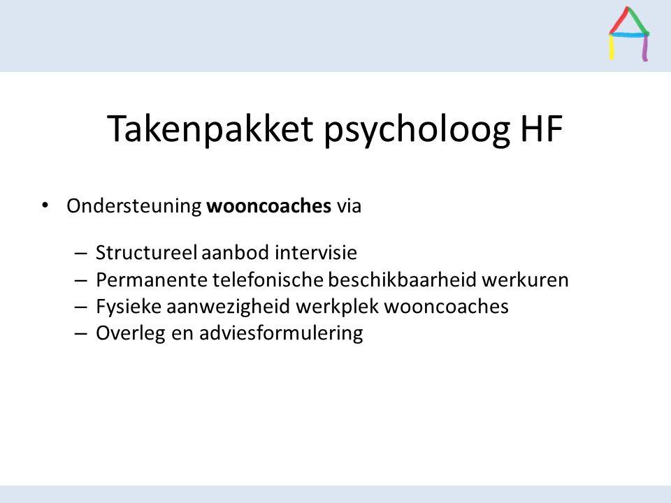 Takenpakket psycholoog HF Ondersteuning wooncoaches via – Structureel aanbod intervisie – Permanente telefonische beschikbaarheid werkuren – Fysieke a