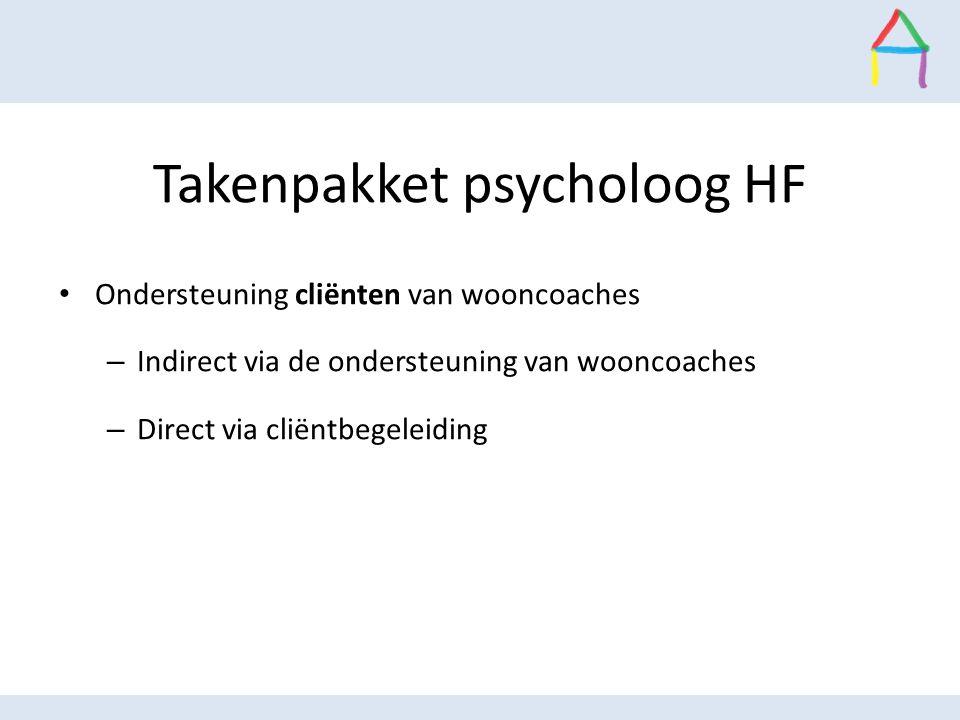 Takenpakket psycholoog HF Ondersteuning cliënten van wooncoaches – Indirect via de ondersteuning van wooncoaches – Direct via cliëntbegeleiding