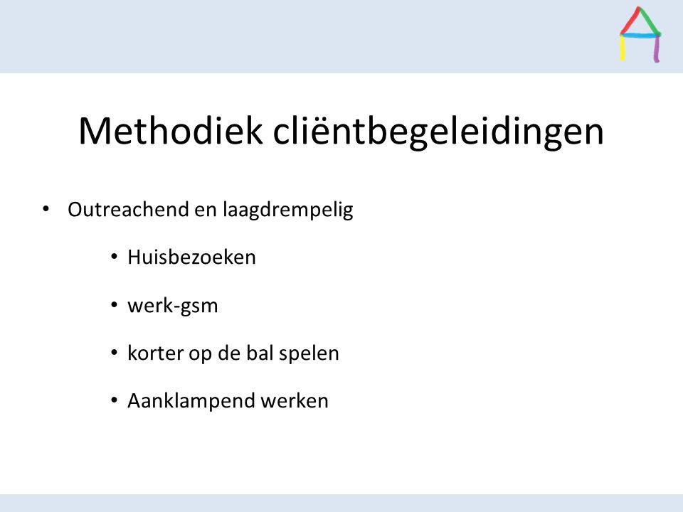 Methodiek cliëntbegeleidingen Outreachend en laagdrempelig Huisbezoeken werk-gsm korter op de bal spelen Aanklampend werken