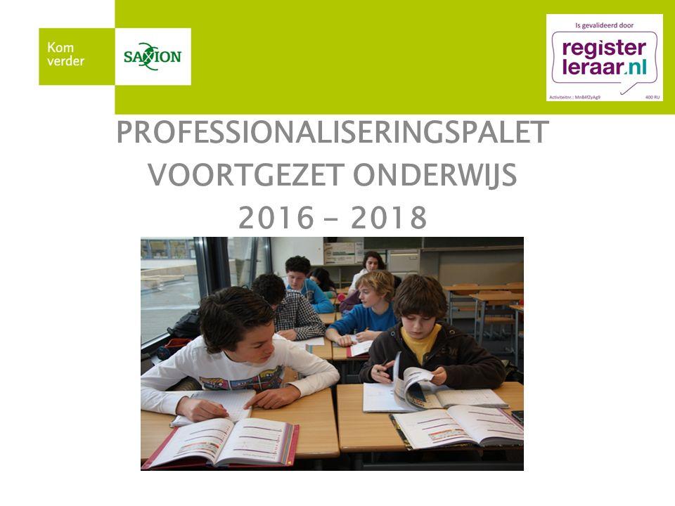 PROFESSIONALISERINGSPALET VOORTGEZET ONDERWIJS 2015 - 2017 PROFESSIONALISERINGSPALET VOORTGEZET ONDERWIJS 2016 - 2018