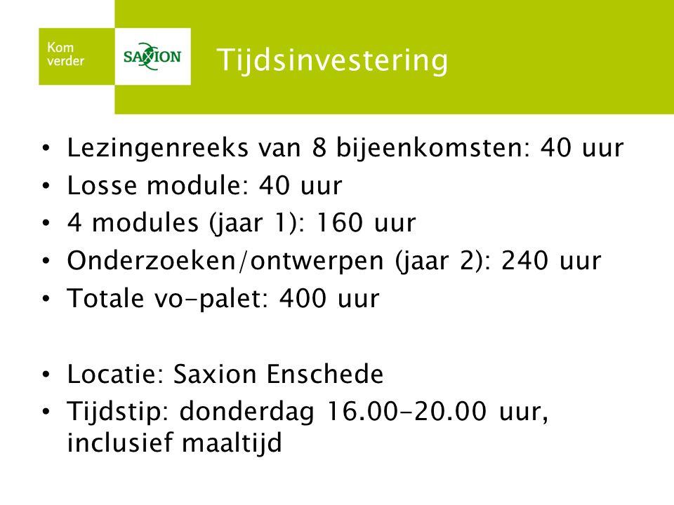 Tijdsinvestering Lezingenreeks van 8 bijeenkomsten: 40 uur Losse module: 40 uur 4 modules (jaar 1): 160 uur Onderzoeken/ontwerpen (jaar 2): 240 uur To