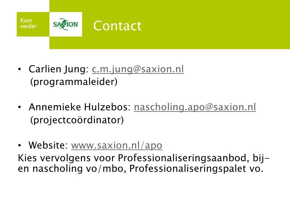 Contact Carlien Jung: c.m.jung@saxion.nlc.m.jung@saxion.nl (programmaleider) Annemieke Hulzebos: nascholing.apo@saxion.nlnascholing.apo@saxion.nl (pro
