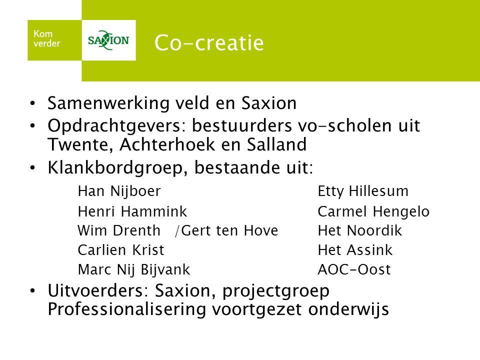 Co-creatie Samenwerking veld en Saxion Opdrachtgevers: bestuurders vo-scholen uit Twente, Achterhoek en Salland Klankbordgroep, bestaande uit: Han Nij