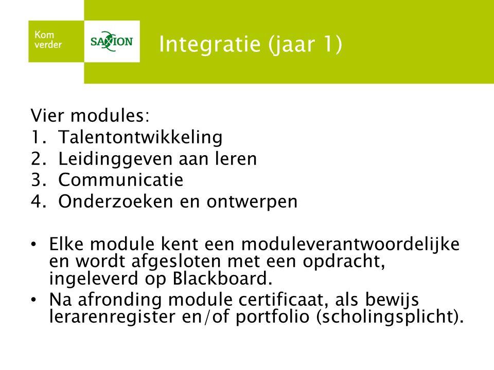 Integratie (jaar 1) Vier modules: 1.Talentontwikkeling 2.Leidinggeven aan leren 3.Communicatie 4.Onderzoeken en ontwerpen Elke module kent een moduleverantwoordelijke en wordt afgesloten met een opdracht, ingeleverd op Blackboard.