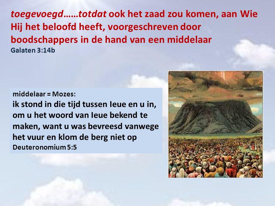 Mozes = middelaar van het oude verbond Dit zijn de verordeningen, de bepalingen en de wetten die Ieue gegeven heeft, tussen Hem en de Israëlieten, op de berg Sinaï, door de dienst van Mozes Lev.26:46; Exodus 19:7; 34:31; Deut.