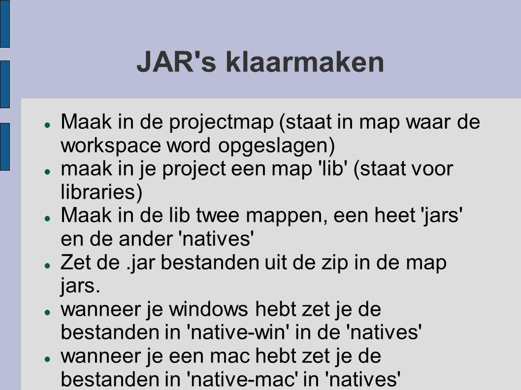 JAR's klaarmaken Maak in de projectmap (staat in map waar de workspace word opgeslagen) maak in je project een map 'lib' (staat voor libraries) Maak i