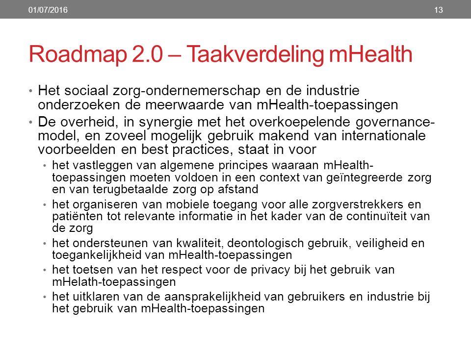 Roadmap 2.0 – Taakverdeling mHealth 13 Het sociaal zorg-ondernemerschap en de industrie onderzoeken de meerwaarde van mHealth-toepassingen De overheid, in synergie met het overkoepelende governance- model, en zoveel mogelijk gebruik makend van internationale voorbeelden en best practices, staat in voor het vastleggen van algemene principes waaraan mHealth- toepassingen moeten voldoen in een context van geïntegreerde zorg en van terugbetaalde zorg op afstand het organiseren van mobiele toegang voor alle zorgverstrekkers en patiënten tot relevante informatie in het kader van de continuïteit van de zorg het ondersteunen van kwaliteit, deontologisch gebruik, veiligheid en toegankelijkheid van mHealth-toepassingen het toetsen van het respect voor de privacy bij het gebruik van mHelath-toepassingen het uitklaren van de aansprakelijkheid van gebruikers en industrie bij het gebruik van mHealth-toepassingen 01/07/2016