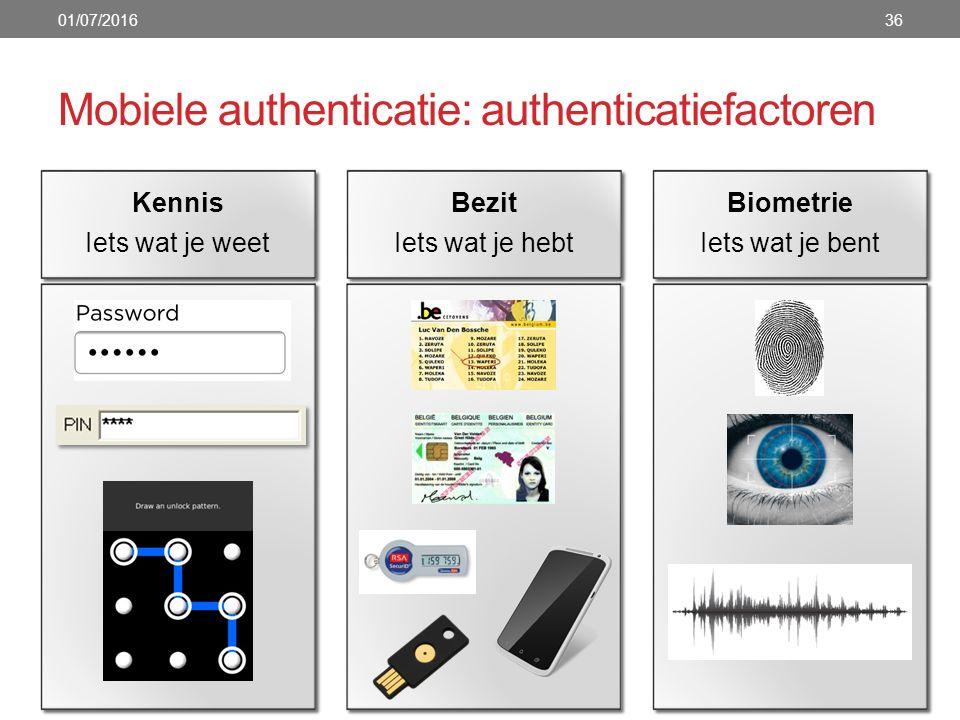 Mobiele authenticatie: authenticatiefactoren 01/07/201636 Bezit Iets wat je hebt Kennis Iets wat je weet Biometrie Iets wat je bent